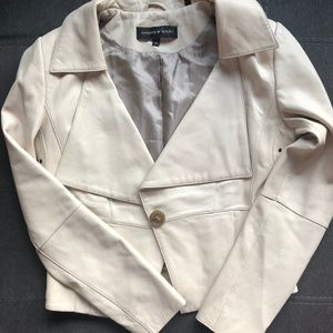 Ivory Leather Andrew Marc Jacket